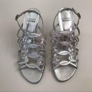 Stuart Weitzman Metallic Cage Loop Heel Size 7.5